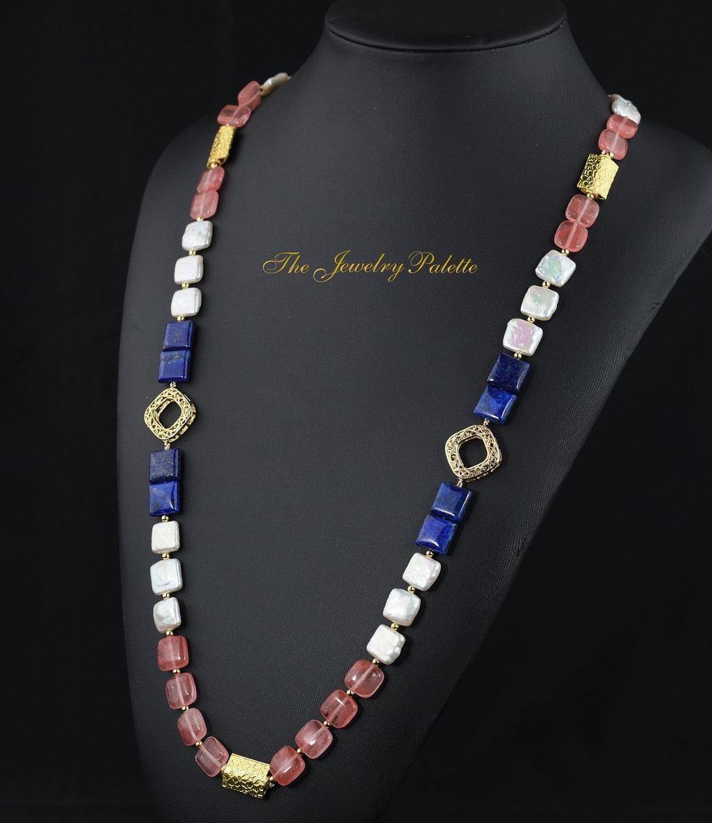 Zara white pearl, lapis lazuli and pink quartz necklace - The Jewelry Palette