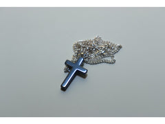 Black haematite cross pendant