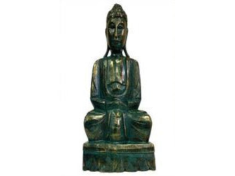 Carved Wooden - Green Gold Buddha Statue - 40cm