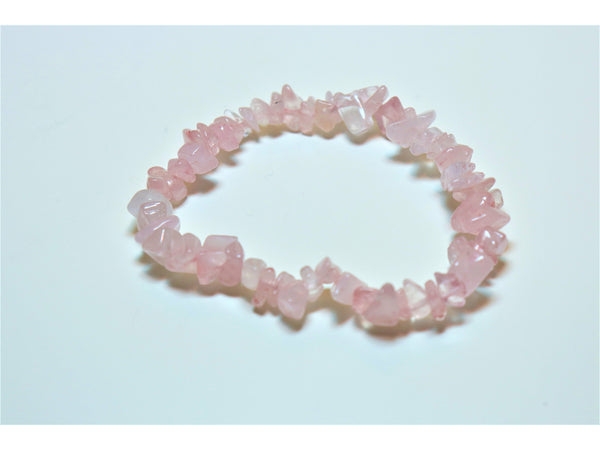 Crystal chip power bracelet - Rose Quartz
