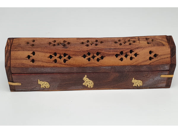 Decorative wooden incense smokebox, with inlaid brass elephants
