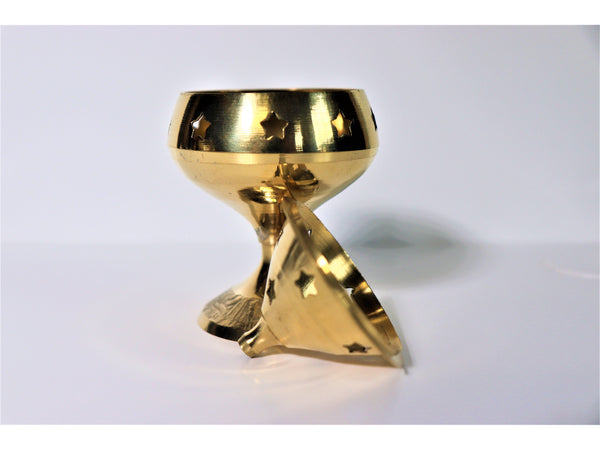 "Medium brass ""Deepak Jyoti"" goblet-shaped incense burner"