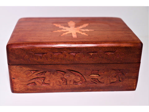 Rustic carved-wood hemp-motif trinket box