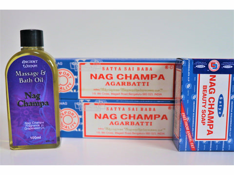 <p>Satya Sai Baba Nag Champa</p> Gift Set - Incense, Soap and Oil
