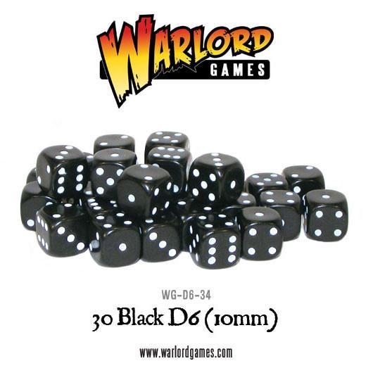 30 Black D6 Dice 10mm