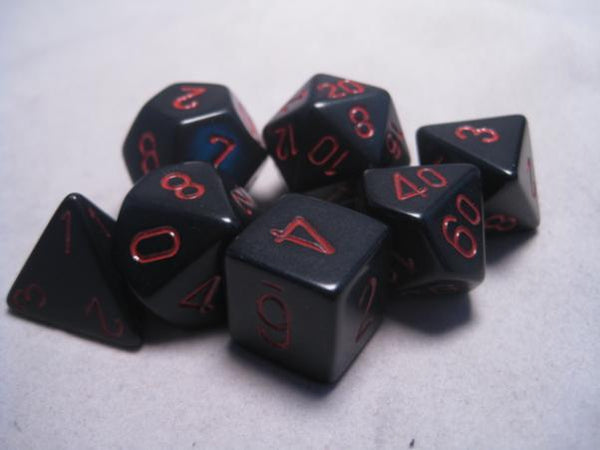 Chessex Dice Sets: Black/Red Opaque Poly 7 dice set