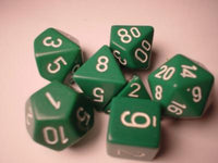 Chessex Dice Sets: Green/White Opaque poly 7 Dice Set