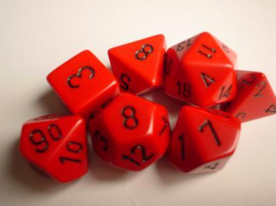 Chessex Dice Sets: Red/Black Opaque poly 7 Dice Set