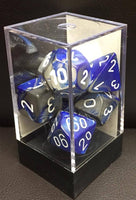 Chessex Gemini Poly Dice set Blue Steel-White