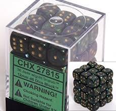 D6 12mm Dice Set Scarab Jade - Gold