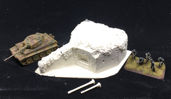 15mm scale Enfilade style pill box bunker with 75mm and 50mm guns.