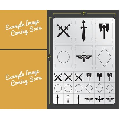 Airbrush Stencil: Vehicle Swords & Axes