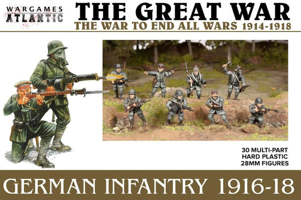 German Infantry (1916-1918) 30 x 28mm Great War infantry.