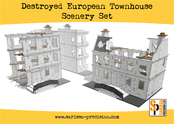 Destroyed European Townhouse Scenery Set