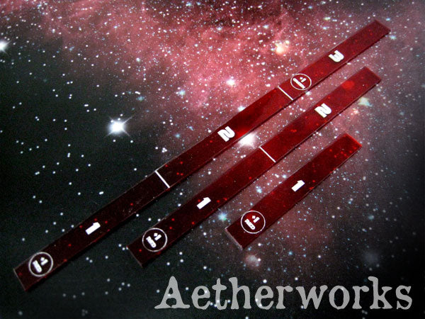 Range Ruler Pack: Length 1, 2 & 3 (Transparent Red)
