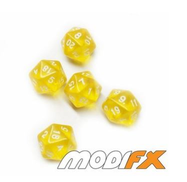 D20s Translucent Yellow w/ White