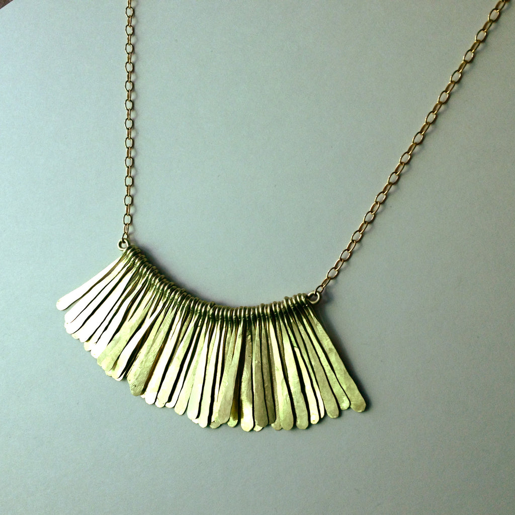 Peacock Brass Minimal Modern Long Necklace by Birch Handcrafted Wearables
