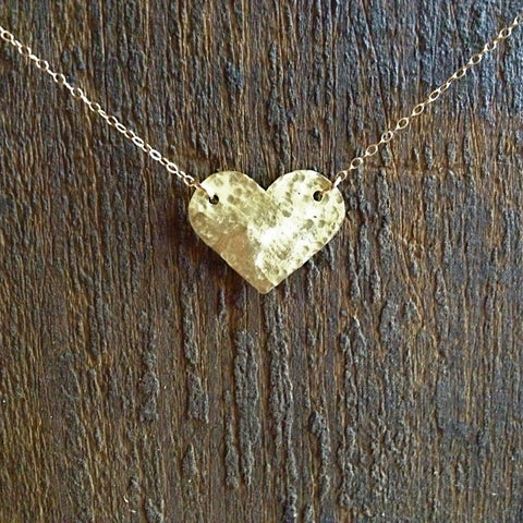 pebbled brass heart