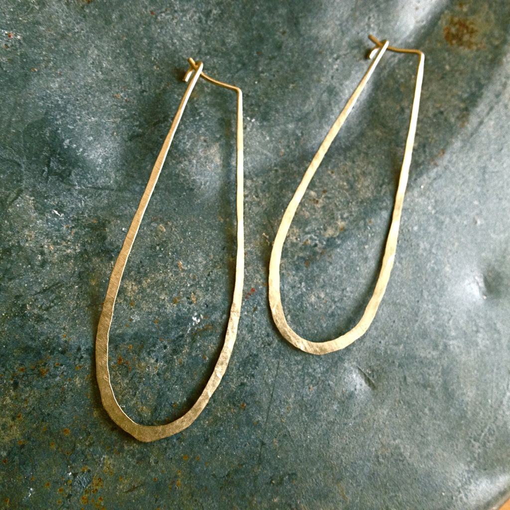 Gold Elongated Hoop Earrings by Birch Handcrafted Wearables