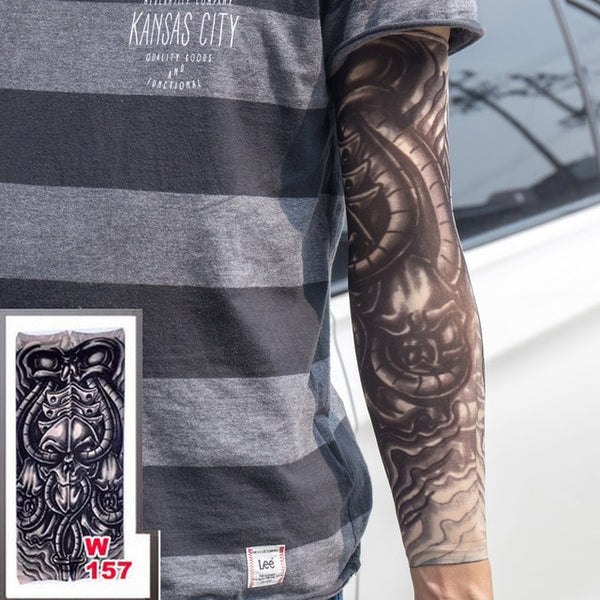 Premium Tattoo Sleeves / Nylon Glove / Tattoos black skull design