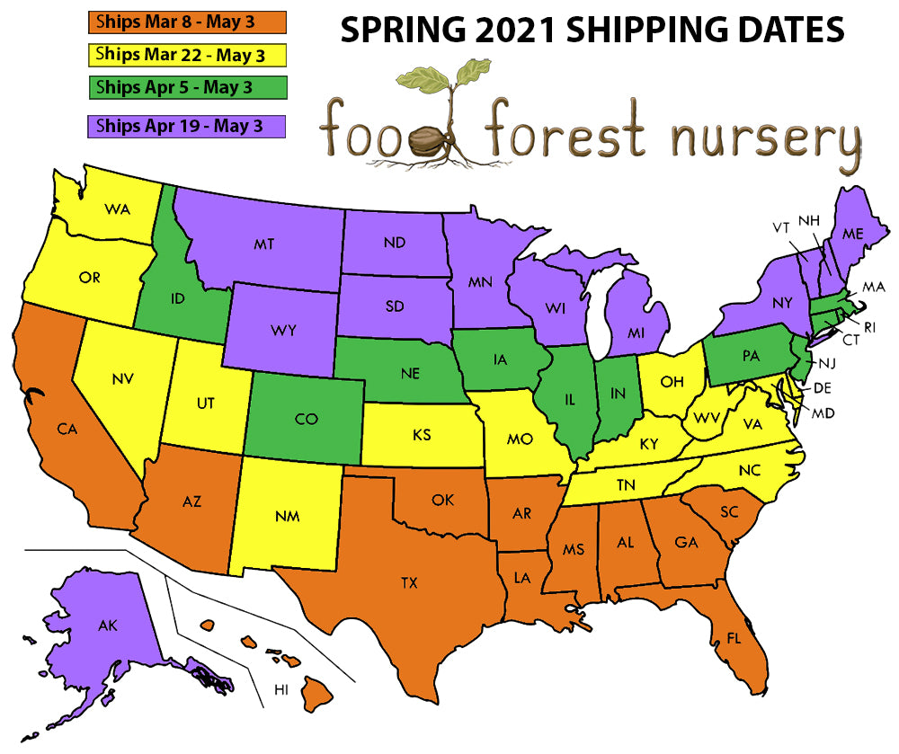 Bareroot Spring Shipping Dates Map Food Forest Nursery