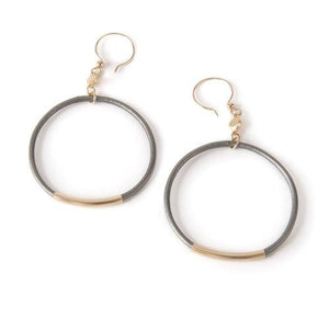 Gold Tube and Leather Earrings
