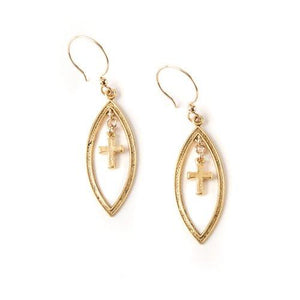 Floating Cross Earrings