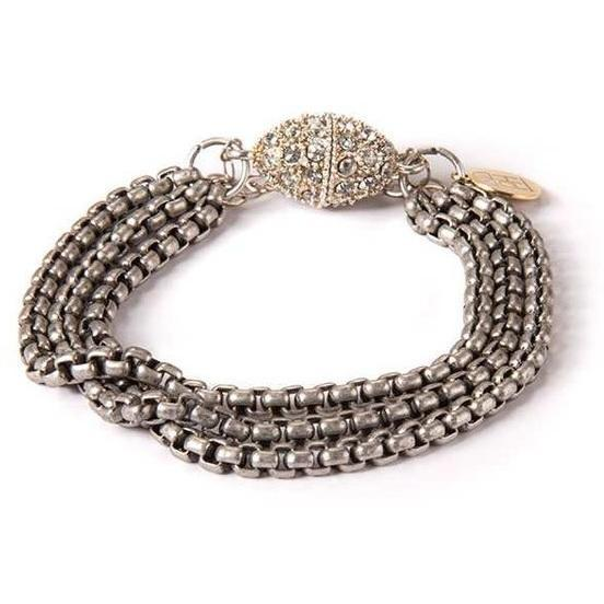 Silver Plated Bracelet with Rhinestone Clasp