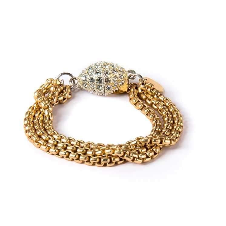 Gold Plated Bracelet with Rhinestone Clasp