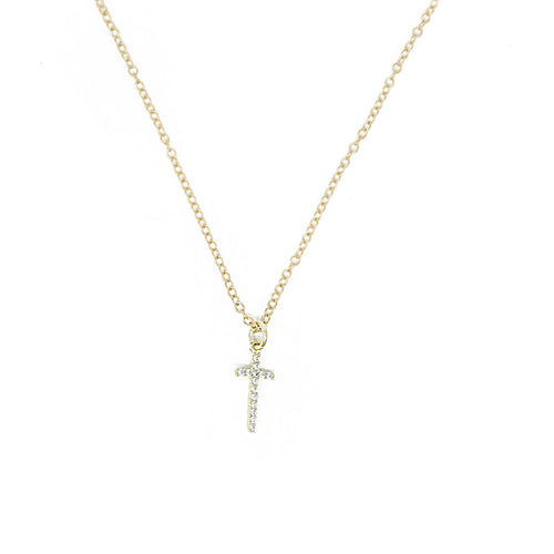 CZ Gold Cross Necklace