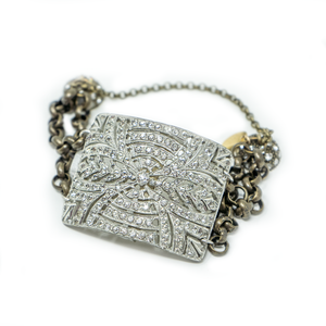 Antique Rhinestone Shoe Buckle Bracelet c1900