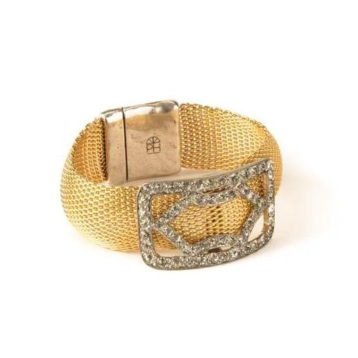 Antique Rhinestone Shoe Buckle Bracelet