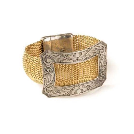Antique Sterling Silver Shoe Buckle on Mesh Bracelet