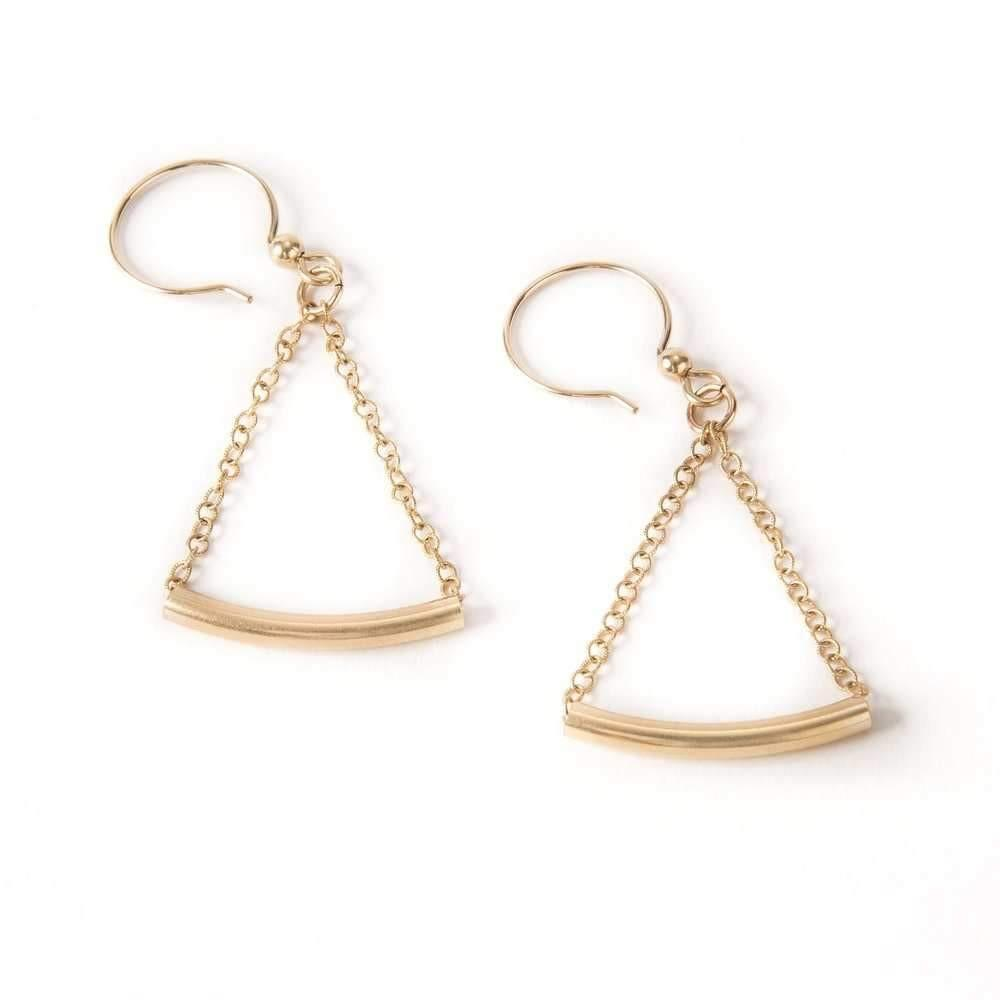 Gold Tube Drop Earrings