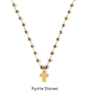 Mini Hammered Gold Cross Necklace