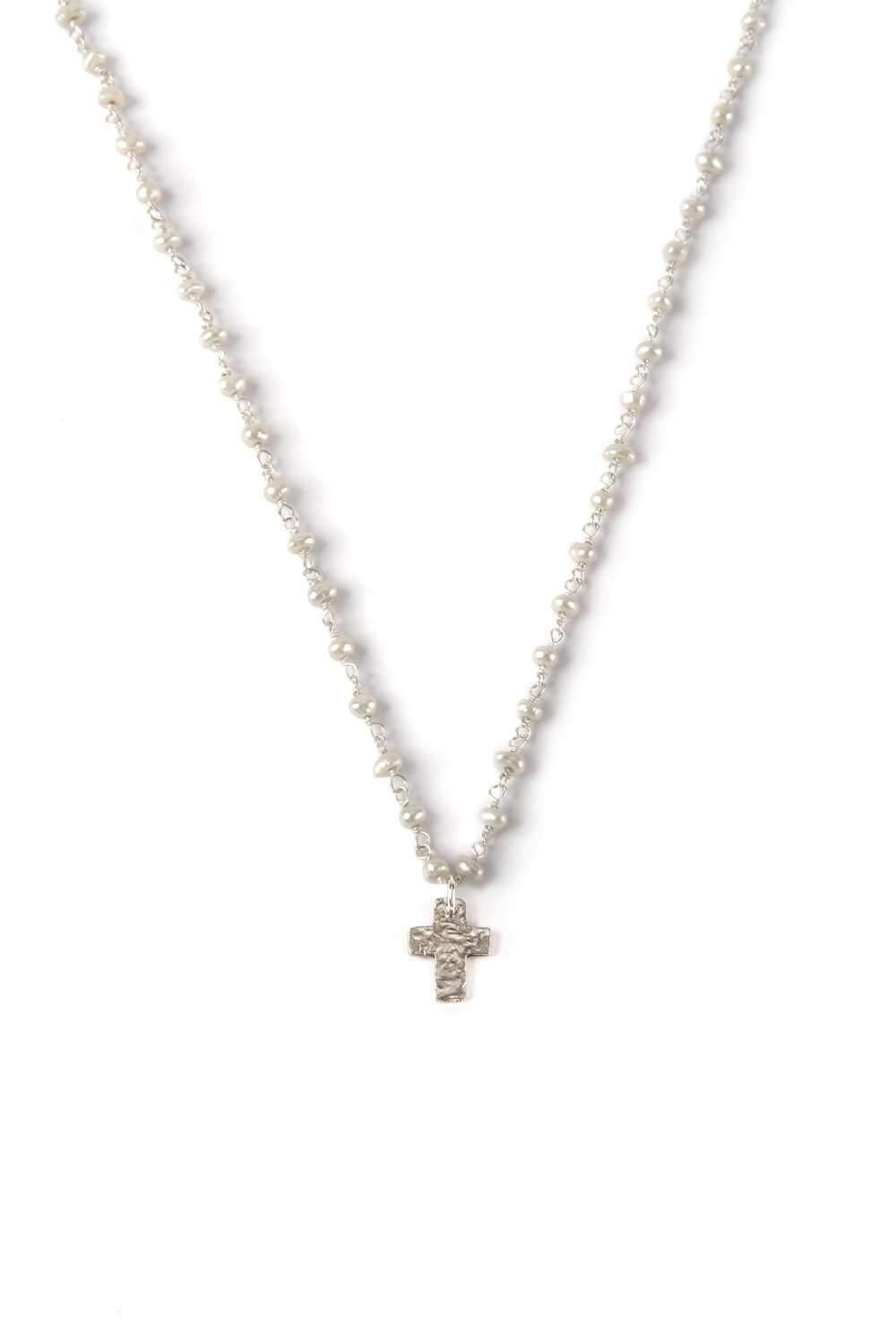 Mini Hammered Silver Cross Necklace