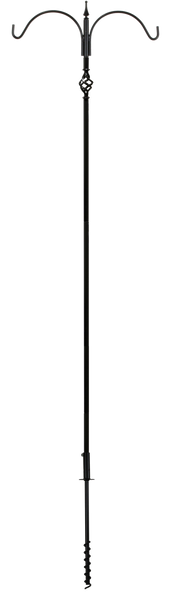 two arm bird feeder pole with decorative accent
