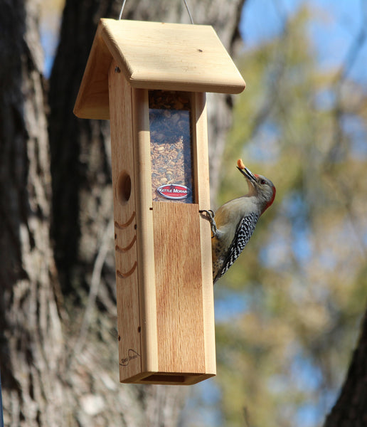 woodpecker eating from kettle moraine cedar feeder