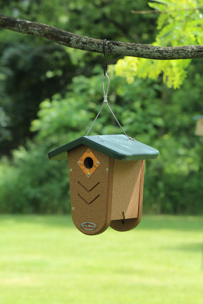kettle moraine recycled bird house hanging from branch