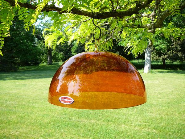 orange rain guard and baffle for bird feeders