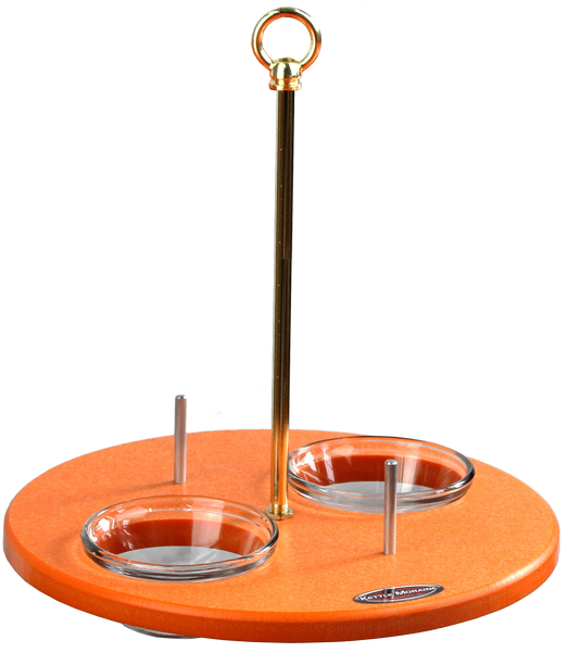 Orange oriole platform feeder shown without roof