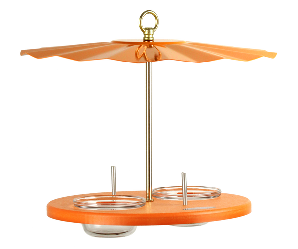 Orange oriole feeder with glass cups and galvanized rain guard