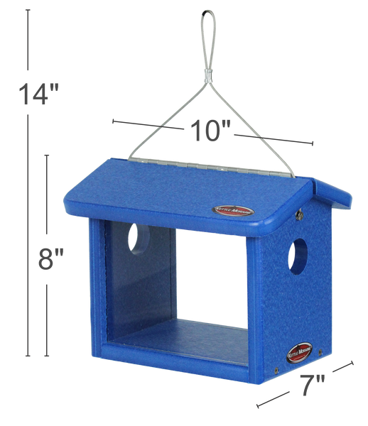 bluebird feeder made with recycled blue material showing dimensions