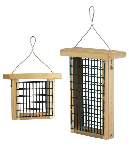 hanging suet feeder in two sizes