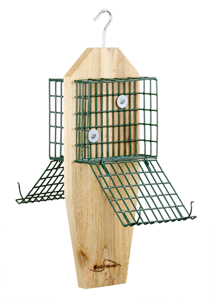 cedar suet feeder with easy to open cages