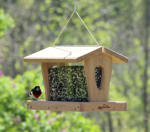 kettle moraine hopper feeder with rose breasted grosbeak