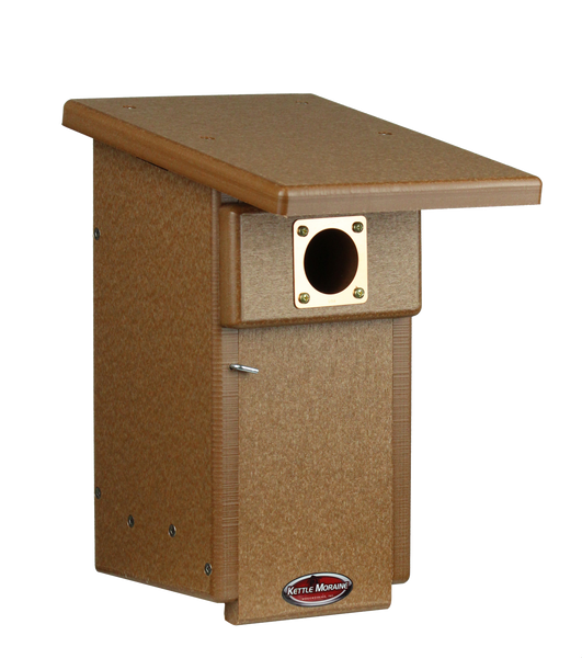 chocolate colored bluebird house with copper portal