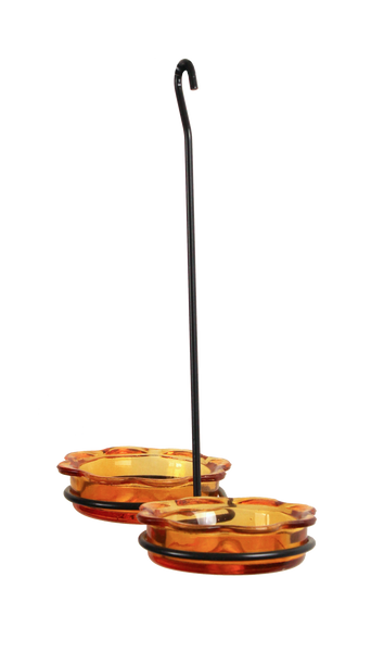 orange glass dish bird feeder for orioles