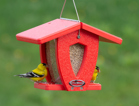 red mini moraine hopper feeder with goldfinches
