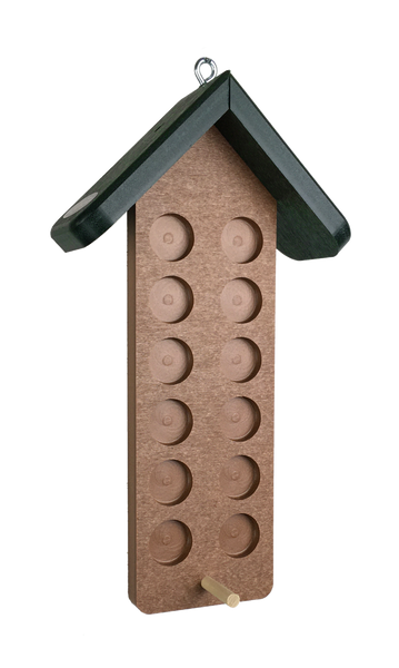 recycled plastic bark butter peanut butter feeder with green roof